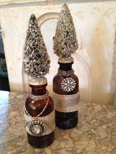 Antique Altered Bottle brush tree bottle w/ german glass glitter