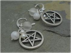 Goddess Path Crafts - Pentacle ,Moonstone and sea glass earrings with sterling silver earwires, wiccan jewelry, new age, pagan,metaphysical, $8.99 (http://www.goddesspathcrafts.com/pentacle-moonstone-and-sea-glass-earrings-with-sterling-silver-earwires-wiccan-jewelry-new-age-pagan-metaphysical/)