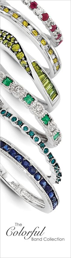 Impress her with a band that expresses her unique style. The Colorful Band Collection features 14K gold wedding bands with precious gemstones and diamonds in a variety of stone cuts and trendy styles.
