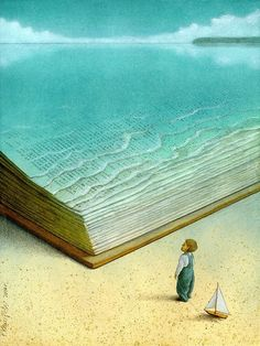 …In the sea of read / … En el mar de la lectura (ilustración de Pawel Kuczynski)