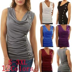 Casual Solid Color Multiple Button Rumple V-neck Women's Vest(S-3XL)