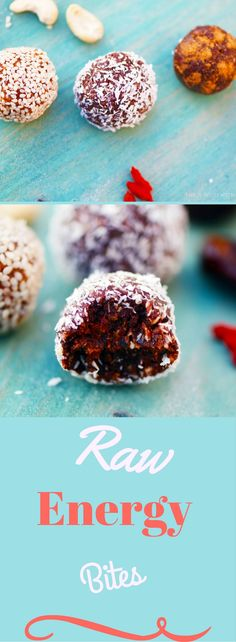An easy recipe for delicious raw energy bites made from dates and cacao.. a perfect snack and a great pick- me-up.. it will give you extra energy in no time!