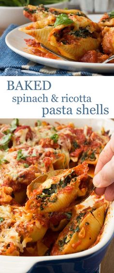 Baked spinach and ricotta pasta shells - impressive, but so so easy (vegetarian lasagne comfort foods) Veggie Recipes, Pasta Recipes, Vegetarian Recipes, Cooking Recipes, Healthy Recipes, Vegetarian Lasagne, Pot Pasta, Pasta Dishes, Pasta Bake