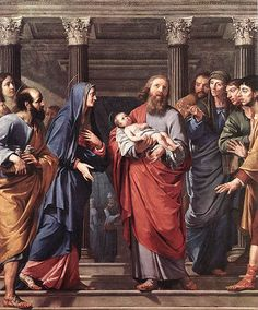 Mary and Joseph presenting Jesus in the Tempel