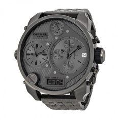 Diesel Badass Oversized Gray Dial Gunmetal PVD Men's Watch DZ7247