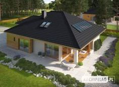 miniatura Modern Bungalow House, Bungalow House Plans, Dream House Plans, Bungalow Extensions, A Frame House Plans, House Cladding, House Design Pictures, Home Garden Design, Bungalow House Design