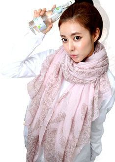 High quality Blue and White Porcelain Style Thin Section the Silk Floss Scarf Shawl