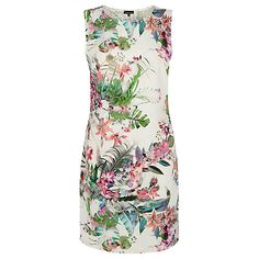 Buy Warehouse Tropical Print Shift Dress, Cream Online at johnlewis.com