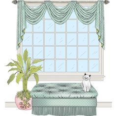 These pole swags have the formulas for overlaps automatically designed into the patterns. Victorian Curtains, Swag Curtains, Chair Pictures, Window Styles, Reception Areas, Window Treatments, New Homes, Interior, Master Bath