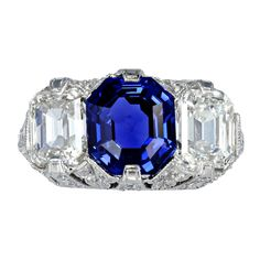 Art Deco No Heat Sapphire and Diamond Ring | From a unique collection of vintage three-stone rings at http://www.1stdibs.com/jewelry/rings/three-stone-rings/