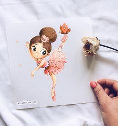 Cute Kawaii Drawings, Cool Art Drawings, Arte Disney, Disney Art, Art Lessons For Kids, Art For Kids, Best Watercolor Paper, Ballet Drawings, Baby Illustration