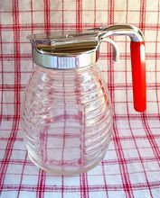 RARE Vintage BAKELITE Kitchenware Syrup PITCHER Art Deco Glass Federal Tool Corp. c.1930's!