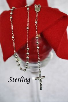 Vintage Sterling Clear Faceted Glass Beads Rosary Necklace 50% OFF Fine Necklaces & Pendants Precious Metal Without Stones