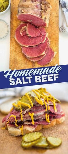 Making homemade salt beef sounds intimidating but could not be easier and the results are pretty spectacular. Hot salt beef sandwiches here we come! Best Beef Recipes, Lamb Recipes, Milk Recipes, Cooking Recipes, Favorite Recipes, Salted Beef Recipe, Homemade Sandwich, Homemade Recipe, Meat Sandwich