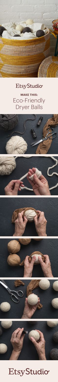 Reduce drying time and add a custom scent to your laundry with these eco-friendly dryer balls. In this project, you'll learn how to wind wool roving into tidy balls of yarn and use your washer and dryer to felt them.