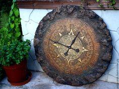 Купить Часы большие (90 см) Майянское золото - золотой, настенные часы, большие часы