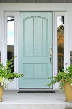 Pink Paint Colors, Front Door Paint Colors, Painted Front Doors, Gray Paint, Exterior Doors, Entry Doors, Exterior Paint, Garage Doors, Porch Doors