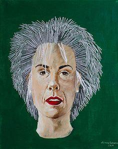 Zelfportret 2014 Dit zelfportret heb ik gemaakt voor de tentoonstelling Threads, die in De Rozet werd gehouden . Dit in navolging van de expositie in het Arnhems Museum, die tegelijkertijd werd gehouden . De haren zijn van breiwol. Anneke Dekker