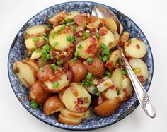 Hot potato salad dripping with bacon. German Potato Salad by Sue Lau | Palatable Pastime 9.24.14 I have always loved German potato salad. Even though I don't recall my mom ever making it from scrat...