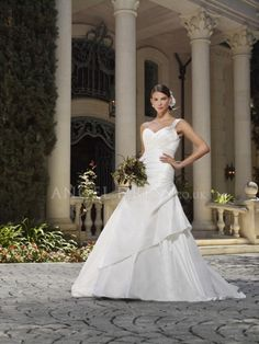 Fit N Flare Floor Length One Shoulder Taffeta Wedding Dresses With Ruching