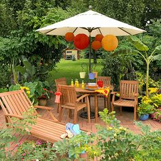 Easy Outdoor Room Ideas Embellish Your Umbrella: Elevate an umbrella from drab to delightful with unexpected accents. Here, Chinese lanterns lend visual interest to an ordinary patio set. Try something similar with white lights, mobiles, or small hanging baskets.