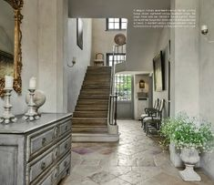 Hallway with Burgundian stone and French antique staircase – photo: Claude Smekens – Milieu magazine, http://milieu-mag.com