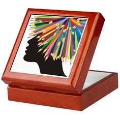Profile of a girl and crayons Keepsake Box on CafePress.com