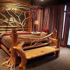 Idea for my dads log bed.the bench. Bedroom furniture made from driftwood