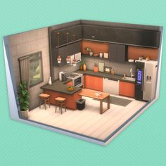 Sims 4 House Building, Building Plans, Sims 4 Kitchen, Casas The Sims 4, Sims House Design, Sims 4 Build, Sims 4 Houses, Industrial Loft, House Layouts