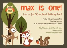 Printable Woodland  Birthday Invitation, Animals Creatures Friends Forest, Deer, Owl, Squirrel, Fox, Boy or Girl DIY digital file. $12.50, via Etsy.