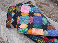 Handmade stained glass batiks and black by SewCuteQuiltAndKnit