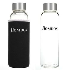 Homdox Glass Water Bottle Made of Highquality Environmental Borosilicate Glass Unique and Stylish Portable Glass Water Bottle With Nylon Sleeve 360ML without Tea InfuserBlack Sleeve Sleeve >>> More info could be found at the image url.Note:It is affiliate link to Amazon.