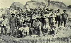 Selous (front seated) leader of H Troops of Bulawayo Field Force, Matabeleland, 1890s.