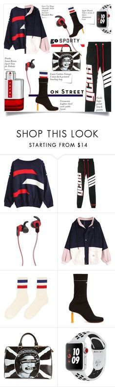 """""""Go Sporty on the street !!"""" by sofirose ❤ liked on Polyvore featuring GCDS, JBL, Post-It, Vetements, Louis Vuitton, Apple, Prada, Vision, Sweater and sporty"""