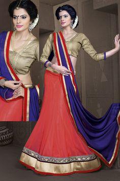 Women's Salmon Color Georgette Fabric Pretty Unstitched Lehenga Choli With Lace Work Dupatta