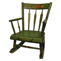 Antique Amish Green Folk Art Stenciled Child's Rocking Chair Green Furniture, Painted Furniture, Country Cottage Bedroom, Sun Chair, Interior Decorating Tips, Used Chairs, Benjamin Moore Paint, Elephant Design, Kid Beds