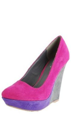Womens Qupid Fuchsia Suede Colorblock Pointy Toe Platform Wedge Sandals (Pulse29),