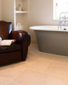Flagstone flooring filled with character, texture and authenticity. Take a look at our beautiful range of traditional and contemporary styles. Flagstone Flooring, Limestone Flooring, Flooring Options, Clawfoot Bathtub, Tile Floor, Tiles, French, Home, Room Tiles
