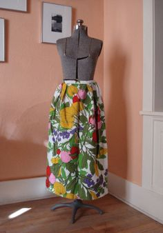 Vintage 1960s Maxi Skirt Strawberries and Flowers  by bycinbyhand, $44.00