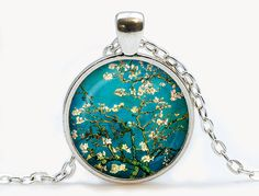 Van Gogh Almond branches in bloom art pendant. by luckyjewelry3