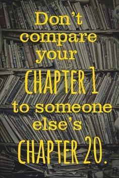 Love this. We all are on different chapters of our lives and we should never compare our journey to someone else's
