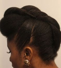 50 cute updos for natural hair French roll updo for medium natural hair Updo Cabello Natural, Pelo Natural, Natural Hair Updo, Natural Hair Styles, Cornrows, French Roll Updo, Faux Hawk Updo, Medium Hair Styles, Curly Hair Styles