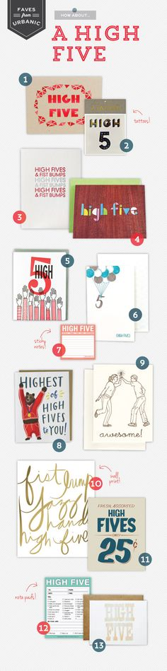 A High Five via Oh So Beautiful Paper: http://ohsobeautifulpaper.com/2014/03/urbanic-faves-high-five/ | 1. Candyspotting; 2. Meri Meri; 3. Sapling Press; 4. Quiet Whimsy; 5. Dude and Chic; 6. Smock; 7. Knock Knock; 8. Emily McDowell Illustration; 9. Smarty Pants Paper Co. 10. Maid Servant Of; 11. Paul Hess Design; 12. Knock Knock; 13. The Iron Curtain Press | Click through for full links and resources!