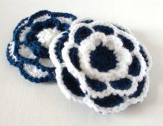 Crochet Flower Brooch Navy and White Large by ScruffyDucksCrochet, £6.00