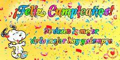 Imagen con movimiento de feliz cumpleaños Snoopy y confeti