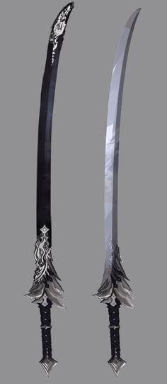 Akiyo and Kuro Hotaru in weapon form – katana Fantasy Katana, Fantasy Sword, Fantasy Armor, Fantasy Weapons, Dark Fantasy Art, Ninja Weapons, Anime Weapons, Weapons Guns, Espada Anime