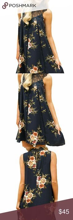 Floral Dress Classy, fabulous, and warm weather ready! Sleeveless floral print dress with deliberate crochet yoke and open slit on back with button closure. The flowy silhouette is flattering to the body. Pick the event and go with confidence. Dresses Midi