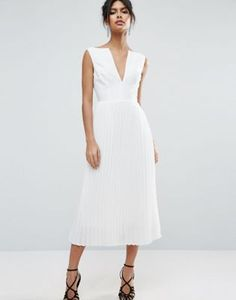 ASOS white Deep V Pleated Midi Dress
