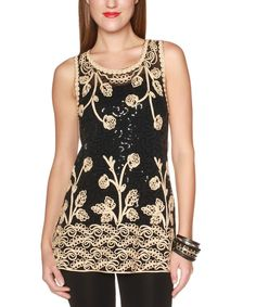Look at this Black & Gold Arabesque Tank on #zulily today!