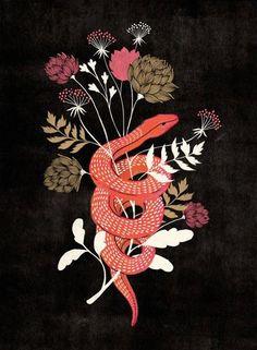 LessTalkMoreIllustration. Pink snake flowers illustration